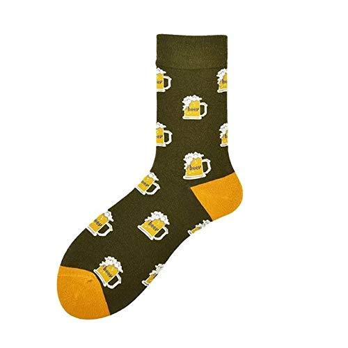 LILONGXI Funny Sokken, Herfst Winter Mode Bier Patroon Ademende Antibacteriële Korte Bedrukte Sokken, Outdoor Atletisch Hardlopen Warm Breien Katoenen Sokken (3st)