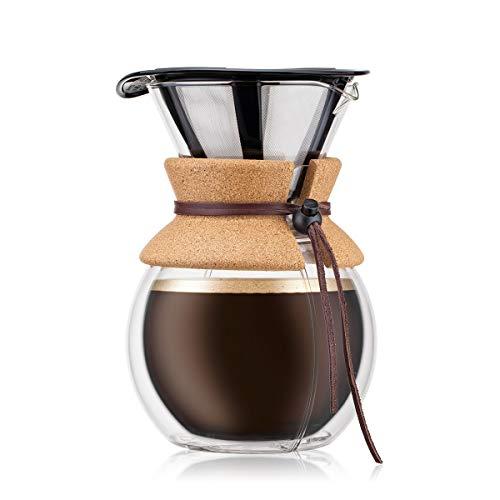 BODUM Pour Over 8 filiżanek ekspres do kawy z podwójną ścianką 16,2 x 14,9 x 22,2 cm, przezroczysty
