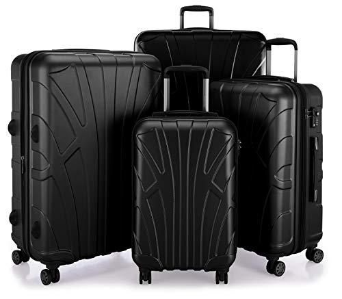 Suitline – 4er Set aus Handgepäck, mittelgroßer Koffer, großer Hartschalen-Koffer, übergroßer Reisekoffer Trolley Rollkoffer, TSA, 100% ABS Matt, Schwarz