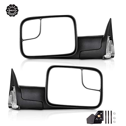 INEEDUP Towing Mirrors Fit for 94-01 Dodge Ram 1500 2002 Dodge Ram 2500/3500 Tow Mirrors with Left and Right Side Manual Adjusted No Heated No Turn Signal Textured Manual Flip Up Function