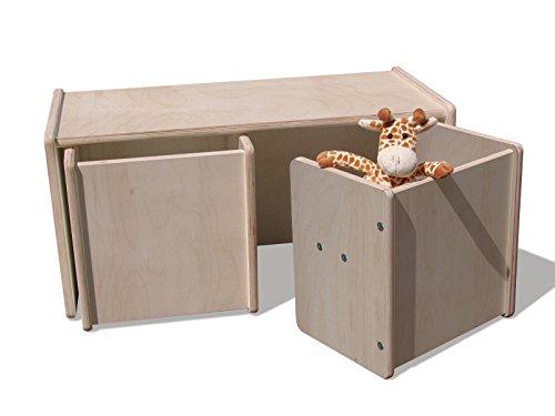 Eli-Kids - Set di 2 sgabelli e 1 tavolino reversibile, colore: natur.