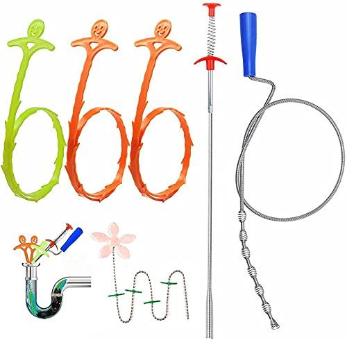 Rohrreinigungsspirale, Abflussspirale, 6er Set Multifunktional Abflussreiniger Spirale mit Blumenart Abfluss Sieb, Spirale Abfluss Rohrreinigung für Verschiedene Abflüsse