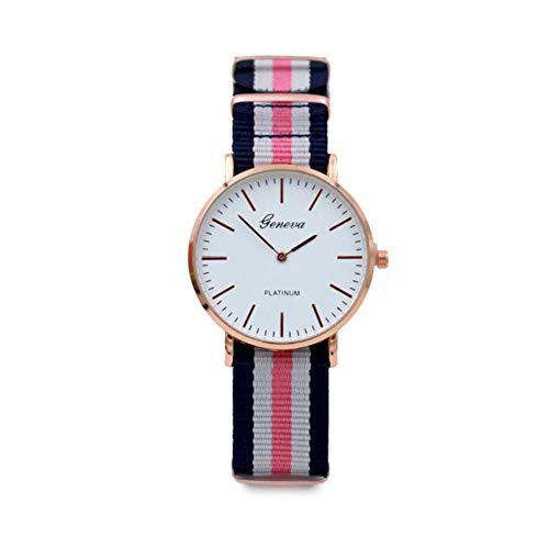 Reloj a Cuarzo analógico Reloj décontractée Reloj de Pulsera Reloj de Moda Vogue Relojes para Hombre Mujer Ultra Fino Barcelet de Tela de Nylon (Estilo F) X 1