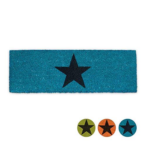 Relaxdays Fußmatte schmal STERN aus Kokos und Gummi PVC als Fußabtreter für Außen & Innen Eingangsmatte mit rutschfestem Boden als Türvorleger und Türmatte HBT: 1,5 x 75 x 25 cm, blau