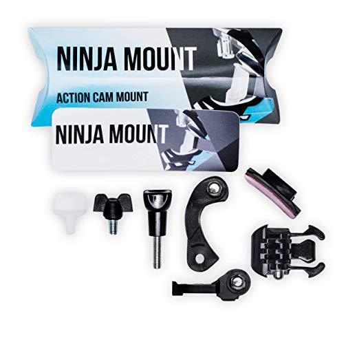 Ninja Mount – Big PACK – Support pour caméra d'action Fullface | Compatible avec GoPro, Garmin & Rollei | Montage spécial pour Downhill/ATV/Motocross avec visière | Fabriqué en Allemagne | Noir