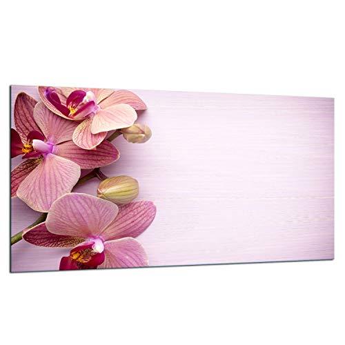 TMK - Placa protectora de vitrocerámica 90 x 52 cm 1 pieza cocina eléctrica universal para inducción, protección contra salpicaduras tabla de cortar de vidrio templado como decoración, rosa orquídea