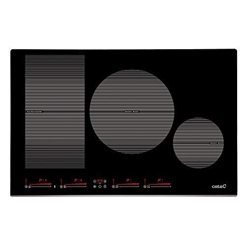 Cata | Placa de Inducción | Modelo INSB 8021 BK | 80 cm de Ancho | 4 Zonas de Cocción | 9 niveles de Potencia Regulables + Booster | Control táctil deslizante independiente