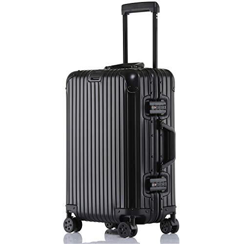 ビルガセ(Vilgazz) キャリーケース アルミ・マグネシウム合金ボディ スーツケース キャリーバッグ 機内持込 静音 360度自由回転 旅行出張 1年保証 ブラック black 2XLサイズ 約87L