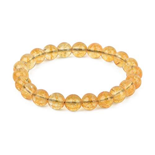 Believe London Gemstone Bracelet Healing Bracelet Chakra Bracelet Anxiety Crystal Natural Stone Men Women Stress Relief Reiki Yoga Diffuser Semi Precious (Citrine 8')