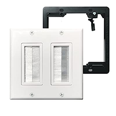 Brush Wall Plate Double 2 Gang,Yomyrayhu,Cable Entry Access Strap Pass Through Insert for Wires Works Great with Audio/Vedio,HDMI,Home Theater and More