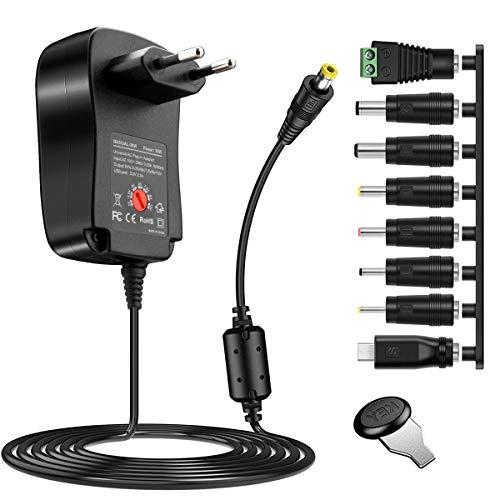 Universale Adattatore 30 W, Rocketek Adattatore universale multitensione CA Caricabatteria a commutazione CC con 8 adattatori per dispositivi elettronici domestici da 3 V a 12V e strisce LED