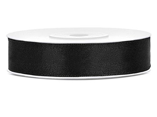 SiDeSo® Satinband 25m x 12mm viele Farben Hochzeit Dekoband Geschenkband Antennenband Schleifenband (schwarz)