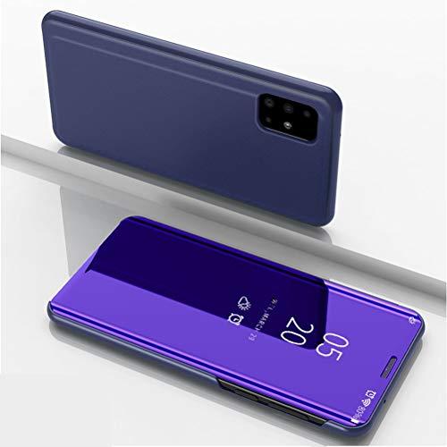 LUSHENG Capa inteligente com janela de visualização espelhada semitransparente luxuosa, capa protetora de corpo inteiro para Samsung Galaxy A71 - azul violeta