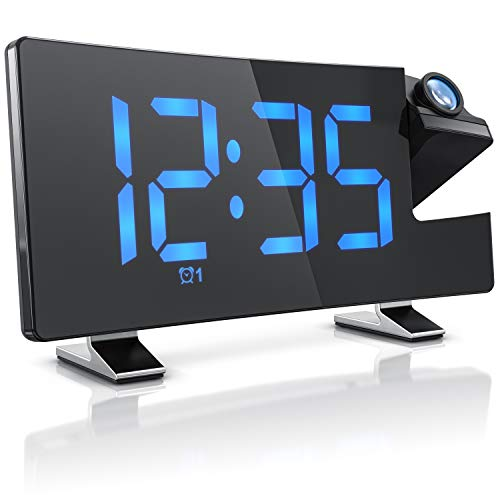 CSL - FM Radiowecker Projektionswecker digitaler Wecker - Flip-Projektionsanzeige - 2 Weckalarme – 10 Lautstärkestufen - Autodimmer – 15 FM Radiospeicher – Blaue Ziffern mit 3 Helligkeiten