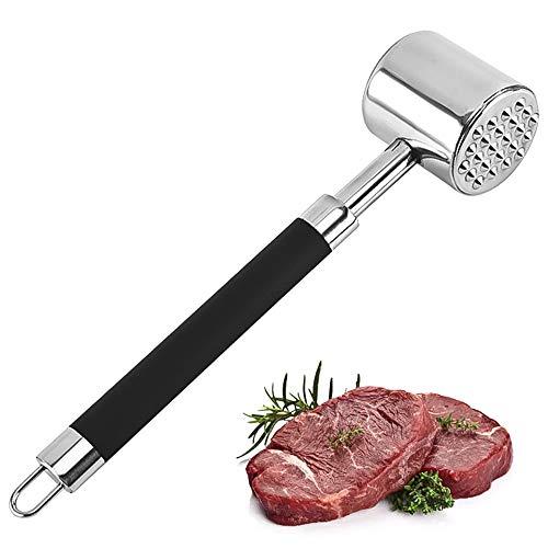 Vegena Martillo de carne de acero inoxidable, hoja de aguja de doble cara para ablandar el aplanamiento, prensar carne de cerdo salvaje, carne de ternera, carne de cordero, pollo y carne de carne.