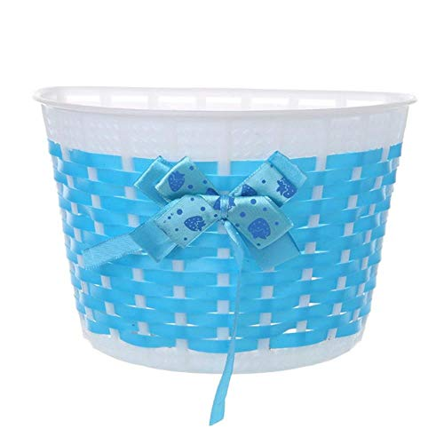 MKLS 1Pc Bicycle Scooter Basket Children Bike Plastic Knitted Bow Knot Front Handmade Bag,Blue
