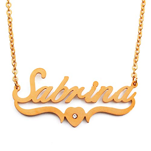 Kigu Sabrina Personalized Custom Name Necklace -18ct Gold Plated - Heart Shaped