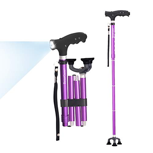 BeneCane Travel Adjustable Folding Canes and Walking Sticks for Men and Women - Led Light and Easy Grip Handle for Arthritis Seniors (Purple)