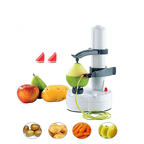 Electric Fruit Apple Potato Peeler, Multifunctional Stainless Automatic Fruits Vegetables Cutter Kitchen Peeling Tool (White)