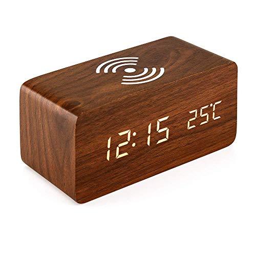 VANOLU Reloj despertador con almohadilla de carga Qi compatible con reloj digital de madera LED función de control de sonido, fecha de hora, visualización de temperatura para oficina