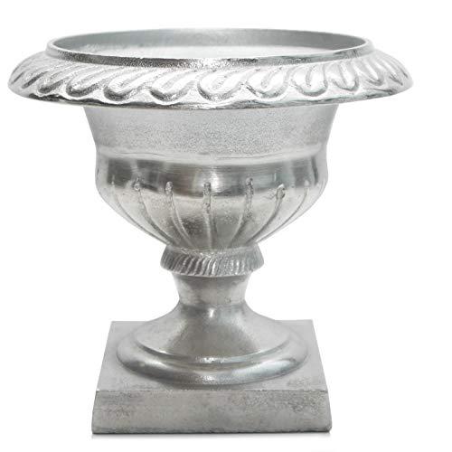 Exner Amphore GROS Vase Aluminium Silber antik Pflanzgefäß auf Fuß - Vintage Landhaus 19 cm