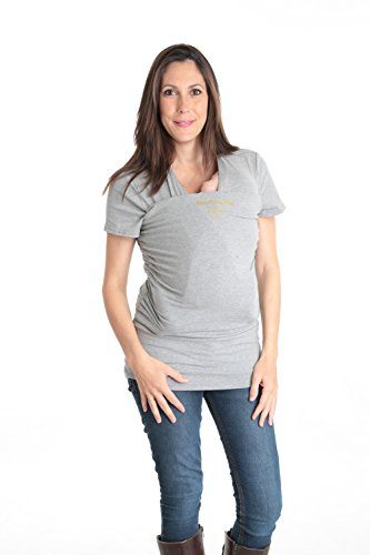Camiseta de porteo, camiseta portabebés. Anticólicos bebé Amarsupiel Mujer Manga corta Talla M(40-42) Color gris