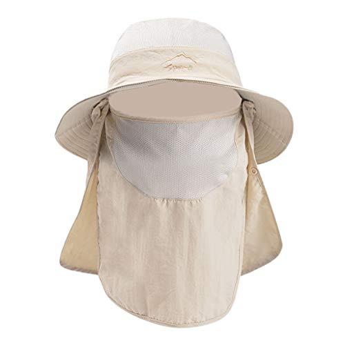 DOLDOA Hut Damen Sommer,Sommer Outdoor Sonnenhut Schutz Eimer Boonie Cap Solid Einstellbare Angeln Hut (Beige)