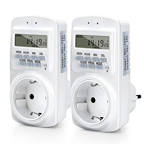 2 stuks digitale timer, draadloze programmeerbare timer, 7 dagen, 12/24 uur, 16 groepen schakelprogramma's, geheugenfunctie, met batterij-backup, energiebesparend voor huishoudens, 2 stuks zeitschaltuhren