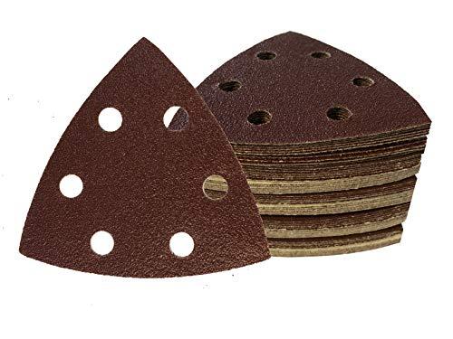 SBS - Triángulo de lija (50 unidades, velcro, 93 x 93 x 93 mm, grano 80, para lijadora delta, 6 agujeros)