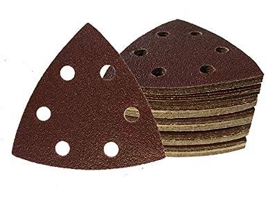 Triángulo de lija (60 unidades, velcro, 93 x 93 x 93 mm, grano 10 x 40/60/80/120/180/240, para lijadora Delta de 6 agujeros)