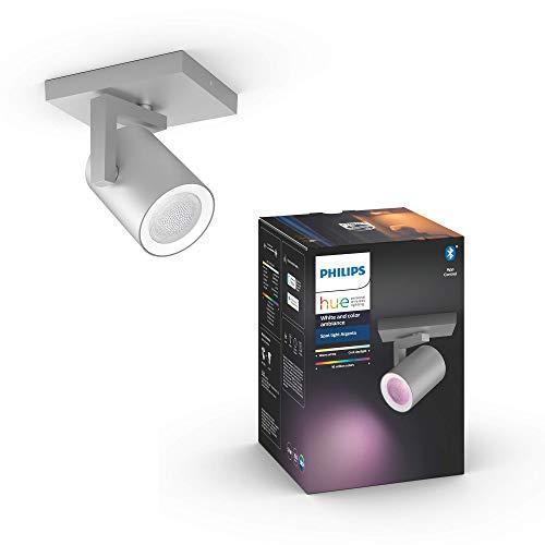 Philips Lighting Hue Argenta White and Color Ambiance Faretto Connesso, con Bluetooth, 1 Punto Luce, GU10, 5.7 W, Alluminio