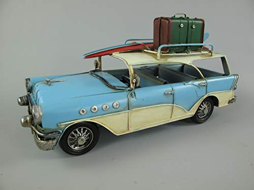 Blechauto Oldtimer Kombi Stationcar mit Surfbrett Nostalgie DEKO Retro Blechmodell Modellauto Automodell Shabby Vintage Kalifornien