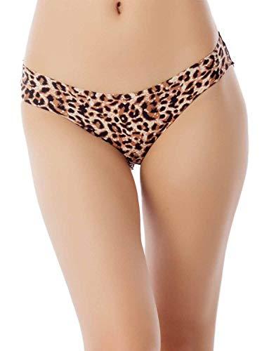 iB-iP Mujer Algodón En Capas Leopardo Ver A Través De poca Altura Panty Bikini, Tamaño: S, Leopardo