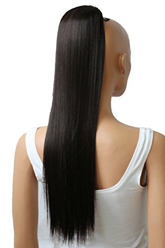 PRETTYSHOP 65cm Haarteil Zopf Pferdeschwanz Haarverlängerung Glatt Dunkelbraun PH602
