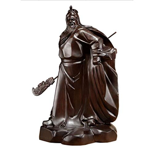 FTFTO Living Equipment CAI Shen Black Sandalwood Carving Guan Gong Statue Pendulum Solid Wooden Martial Arts God Lucky Buddha Guan Yu God of Wealth (Color : Black Size : Height 20CM)