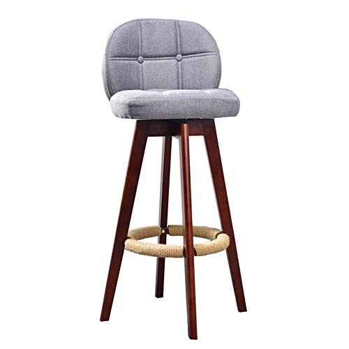 BJLWTQ Bar Stools Barstools Chair Dining Chairs with Ergonomics Backrest and Hemp Rope Footrest | Linen Fabric Cushion for Pub/Restaurant Beech Wood (Color : Brown, Size : 75cm)