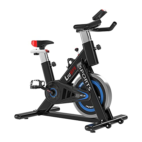 LIUWFE Indoor Cycling Bike Stationary -Exercise Bike 300lbs Weight Capacity for Home Gym with Comfortable Seat Cushion and LCD Monitor