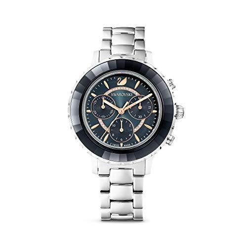 Swarovski Octea Lux Chrono Uhr, Uhr mit Grauem Gehäuse, Funkelndem Zifferblatt, Swarovski Kristallen und Grauem Edelstahlarmband
