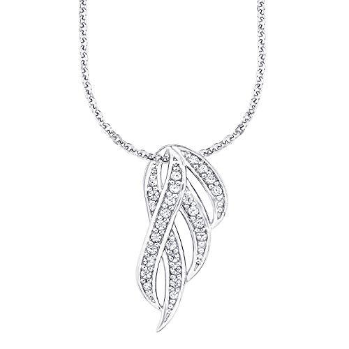 Amor Kette mit Anhänger für Damen, Sterling Silber 925, Zirkonia Feder