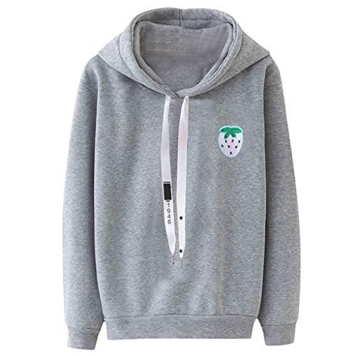 GreatestPAK Damen Langarm Pullover Lose Kapuzenpullover Sweatshirt Bluse Oberteile 3D-Katzendruck Hoodie Übergröße,Grau,XL