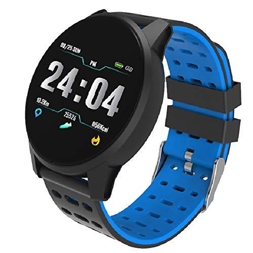 CSJD Intelligente armband, hartslagmeting en detectie van de bloeddruk, gezondheid, sport, bluetooth, waterdicht, zwart, met alarm, stappenteller, calorie, blauw