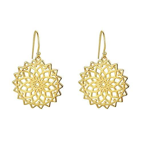 Hot Sale 925 Sterling Zilver Geometrische Bloem Goud kleur Drop Oorbellen voor Vrouwen Sterling Zilver Oorbellen sieraden
