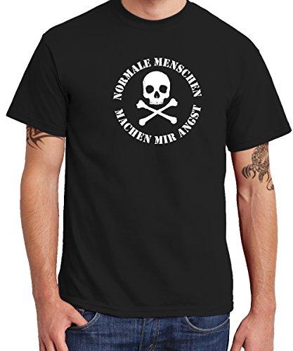 clothinx Herren T-Shirt Normale Menschen Schwarz Gr. M