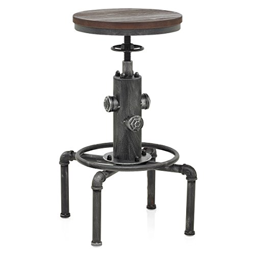 Topower American Antique Vintage Industrial Barstool Solid Wood Water Pipe Fire Hydrant Design Cafe Coffee Silver Industrial Bar Stool (1)