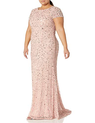 Adrianna Papell Women's Plus-Size Scoop-Back Long Beaded Gown, Blush, 18W (Apparel)