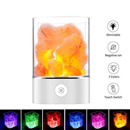 Salz Lampe Salzkristalllampe Himalaya Salzlampe Nachtlicht Dekorative Lichter Salzlampe Dimmbar mit LED Salz Lampe mit Touch Helligkeit Control Funktion by Upstartech