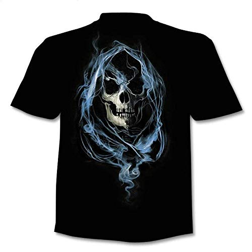 TJJS Camiseta con Calavera, Camiseta con Esqueleto, Camiseta con Pistola, Camisetas góticas, Camiseta Punk, Camisetas Vintage, Camiseta 3D, Estilos Masculinos de Anime, dropshipping-3XL