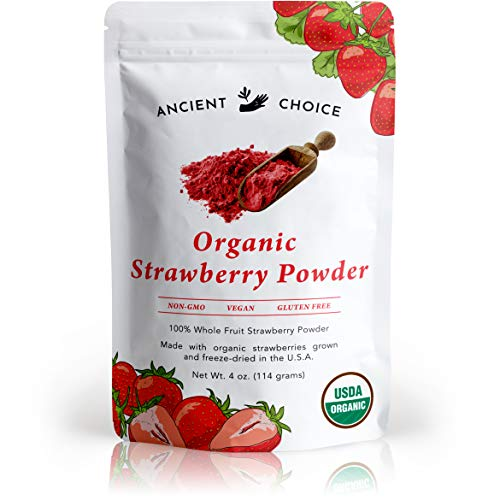 Ancient Choice - Strawberry Powder (4 ounces) | USDA Organic | MADE IN USA | Freeze Dried | Non-GMO | Red Natural Food Coloring | Vegan Superfood | Vegetarian | Smoothie | Baking | Fiber | Prebiotic