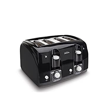 Sunbeam Wide Slot 4-Slice Toaster, Black (003911-100-000)