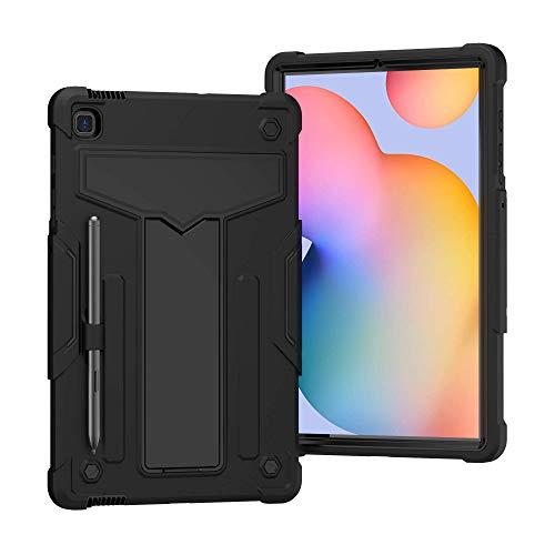 QYiD Funda para Galaxy Tab S6 Lite 10.4' (SM-P610/SM-P615), 3 en 1 Híbrida Carcasa a Prueba de Golpes Protector Case con Soporte & Portalápices para Samsung Tab S6 Lite 10.4', Negro/Negro